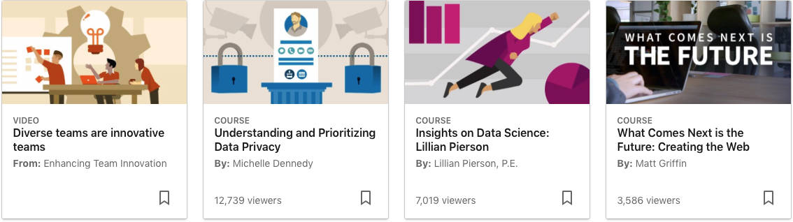 Thumbnails previews of LinkedIn Learning videos and courses.