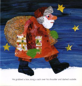 "Eric Carle, Illustration of the farmer/Father Christmas in ""Dream Snow"" ECA Library Image Collection http://images.is.ed.ac.uk/luna/servlet/s/yd2zm7"