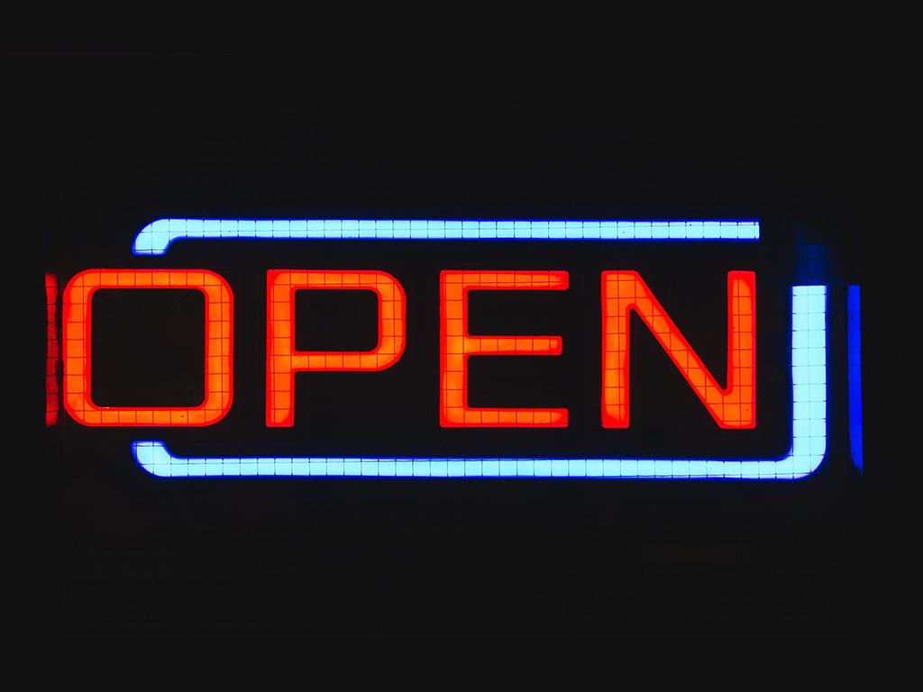 "neon light sign ""open"""