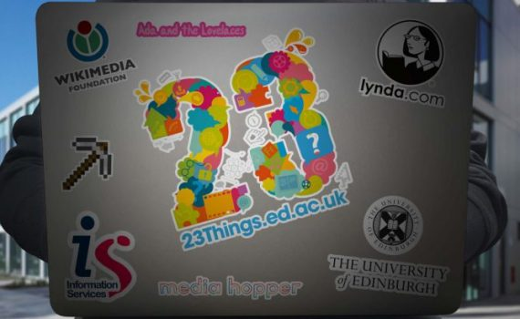 Laptop covered with stickers for '23 Things', Wikimedia UK, Lynda.com, etc.