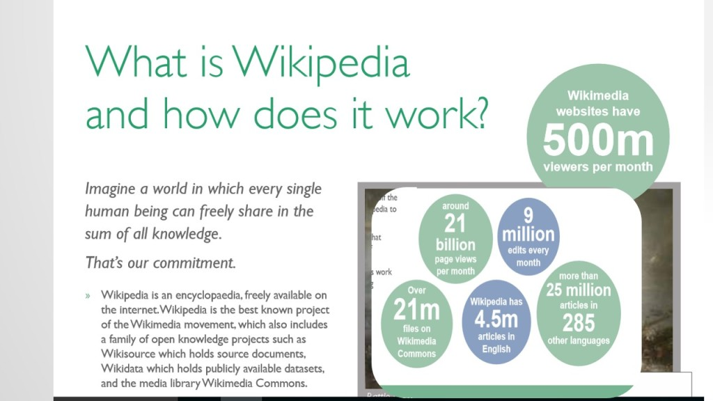 Screengrab from 'How to work successfully with Wikipedia' WMUK GLAM Booklet 2014 (CC-BY-SA)