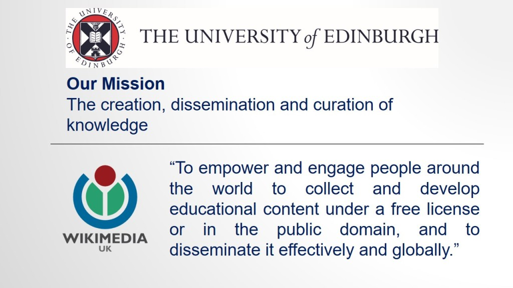 Areas of convergence between Wikimedia UK and the University of Edinburgh's missions.