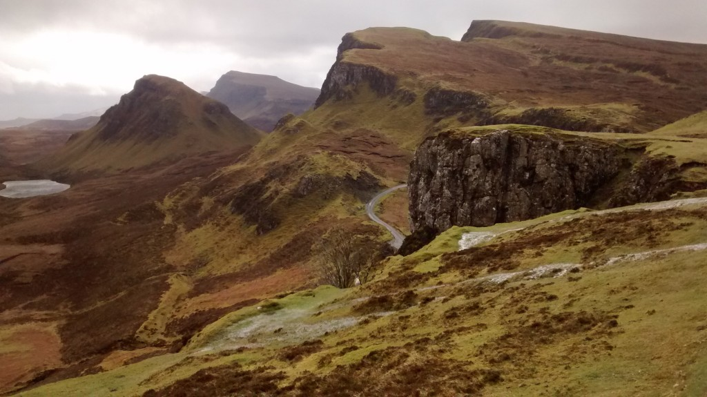 The single track road leading up the Quiraing where I mistook the intentions of a hitchhiker by returning their thumbs up... with my own thumbs up.