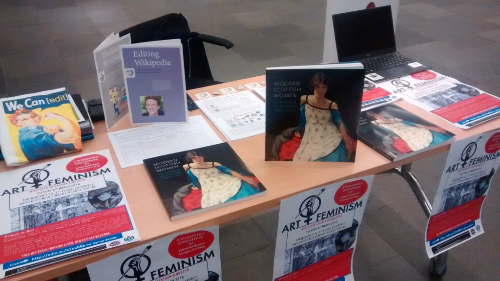Stall in main Library for promoting Art+Feminism editathon