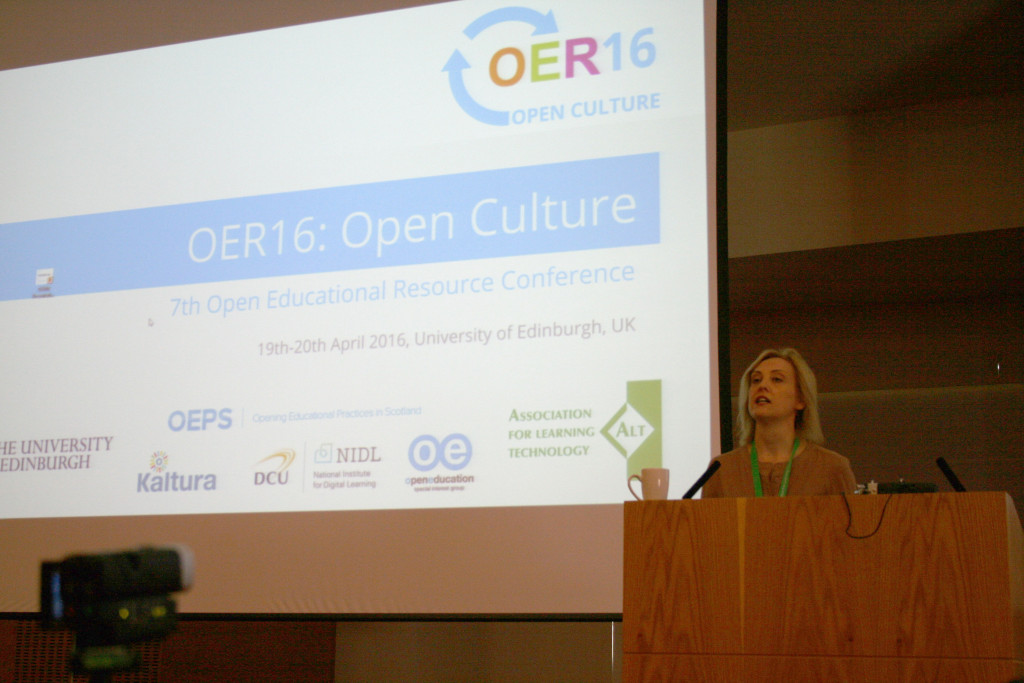 Wikimedia's Josie Fraser at OER16. By Stinglehammer (Own work) [CC BY-SA 4.0 (http://creativecommons.org/licenses/by-sa/4.0)], via Wikimedia Commons