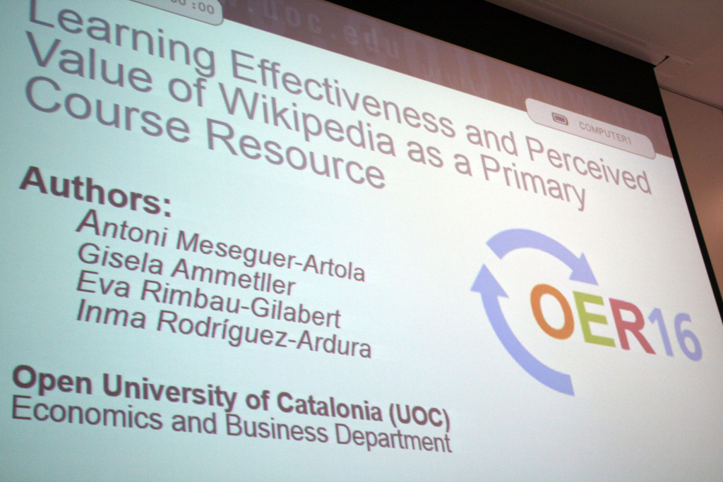 Learning Effectiveness and Perceived Value of Wikipedia as a Primary Course Resource at OER16. By Stinglehammer (Own work) [CC BY-SA 4.0 (http://creativecommons.org/licenses/by-sa/4.0)], via Wikimedia Commons