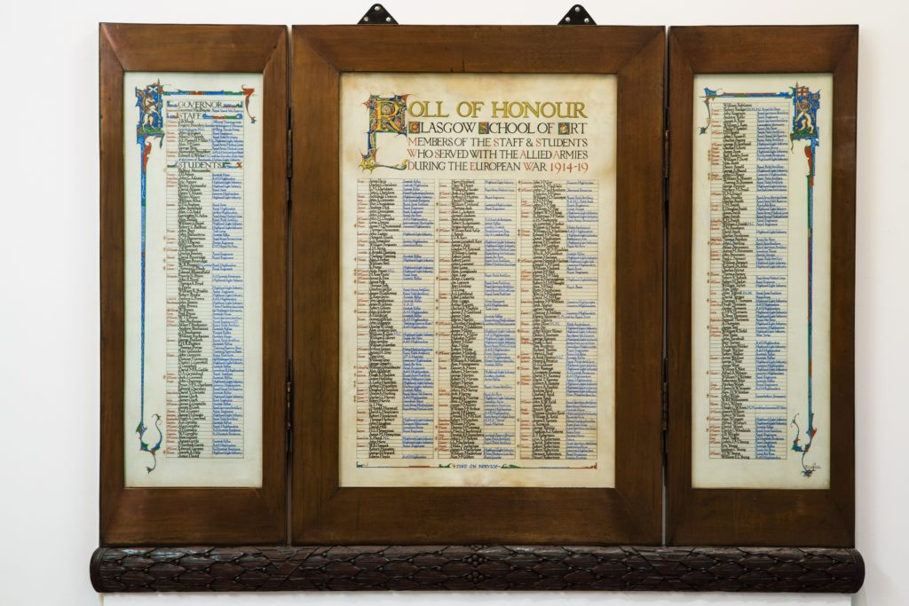 WW1 Roll of Honour (All rights reserved to Glasgow School of Art)