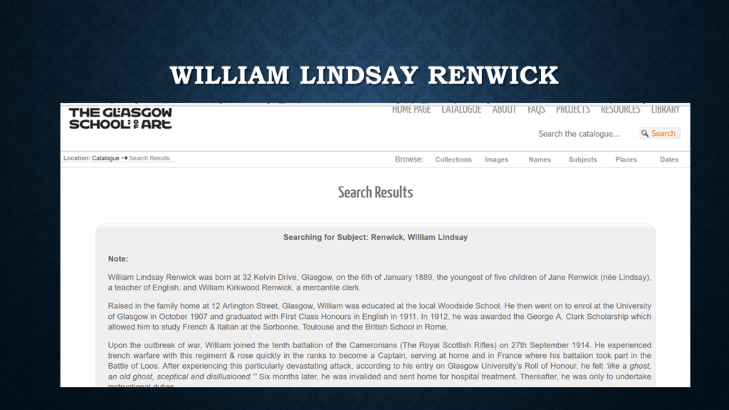 Screengrab of William Lindsay Renwick's entry on Glasgow School of Art Archives' website.