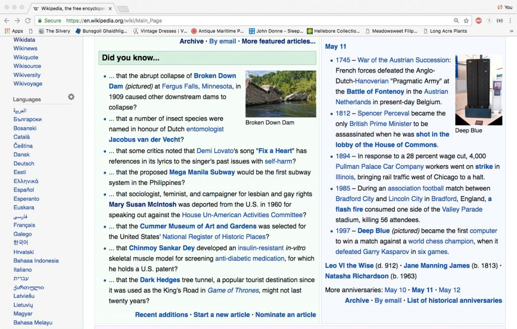 Wikipedia's front page 11 May 2017